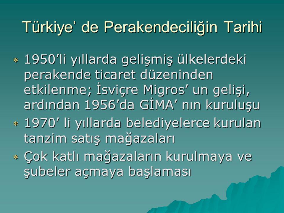 Türkiye' de Perakendeciliğin Tarihi  1980' li yıllarda ithal malların ve büyük alışveriş merkezlerinin artması  1990' larda büyük perakendecilerin sayılarının artması yabancı sermayenin girişi  Günümüzde özellikle büyük kentlerde büyük ölçekli perakendeciliğin yoğun rekabet ortamına girmesi