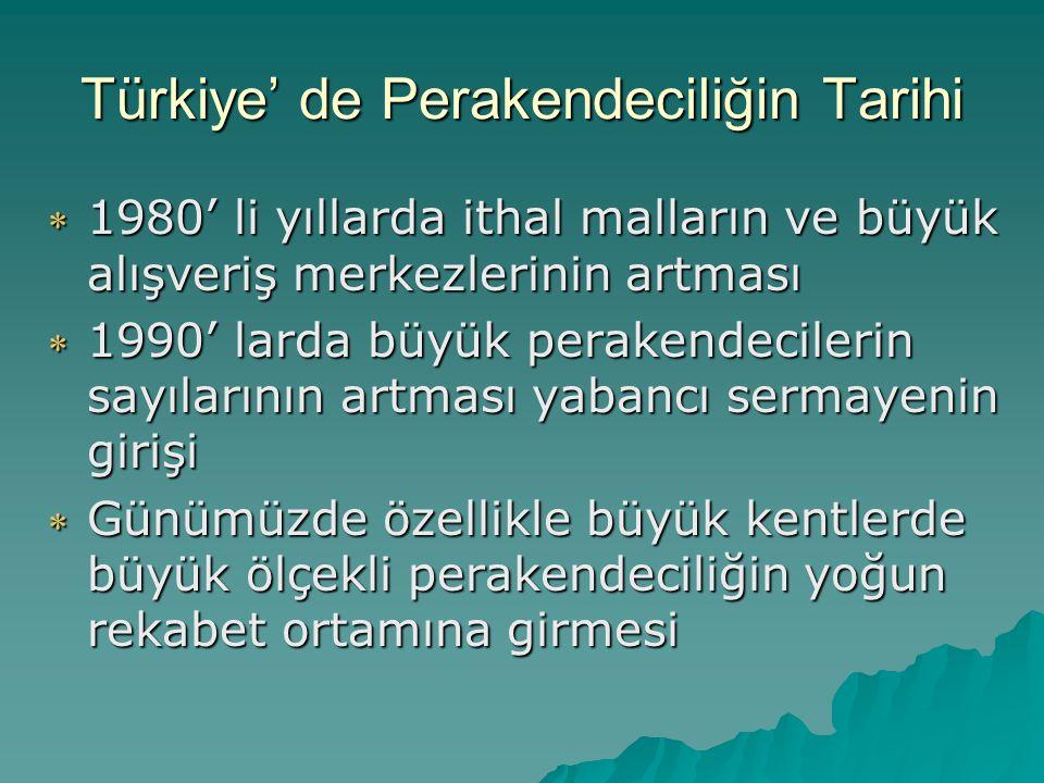 Türkiye' de Perakendeciliğin Tarihi  1980' li yıllarda ithal malların ve büyük alışveriş merkezlerinin artması  1990' larda büyük perakendecilerin s