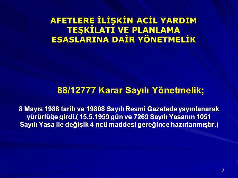 2 88/12777 Karar Sayılı Yönetmelik; 8 Mayıs 1988 tarih ve 19808 Sayılı Resmi Gazetede yayınlanarak yürürlüğe girdi.( 15.5.1959 gün ve 7269 Sayılı Yasa