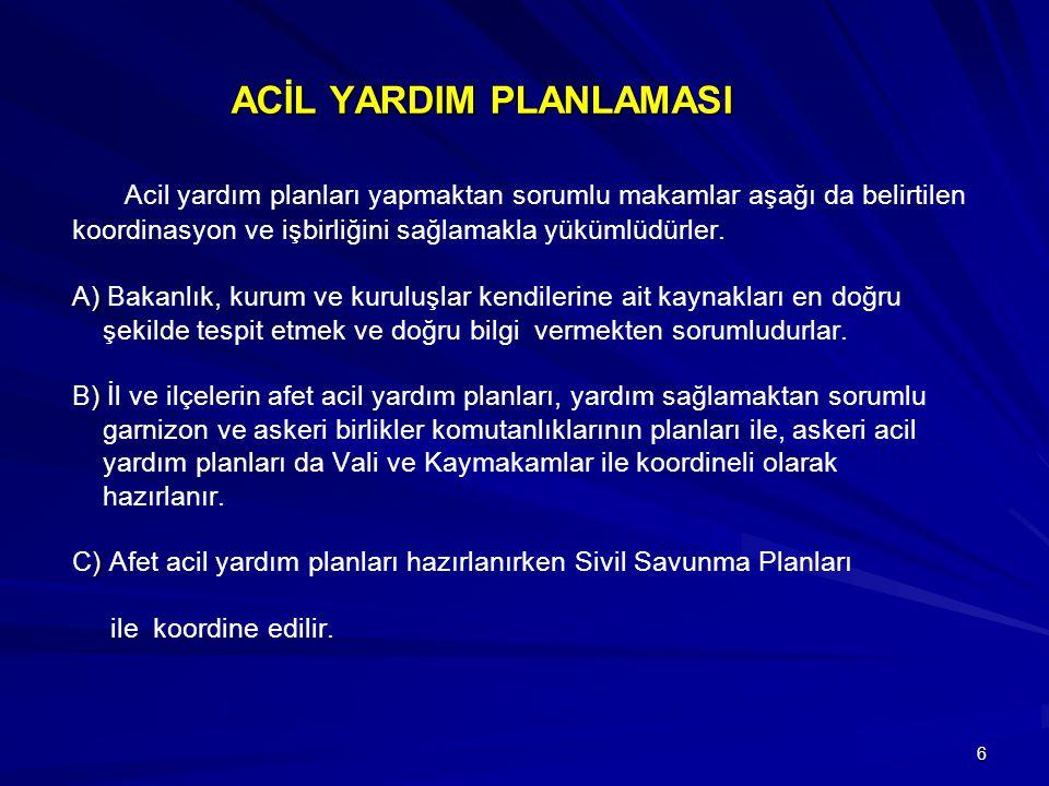 6 ACİL YARDIM PLANLAMASI ) ) ) ACİL YARDIM PLANLAMASI Acil yardım planları yapmaktan sorumlu makamlar aşağı da belirtilen koordinasyon ve işbirliğini