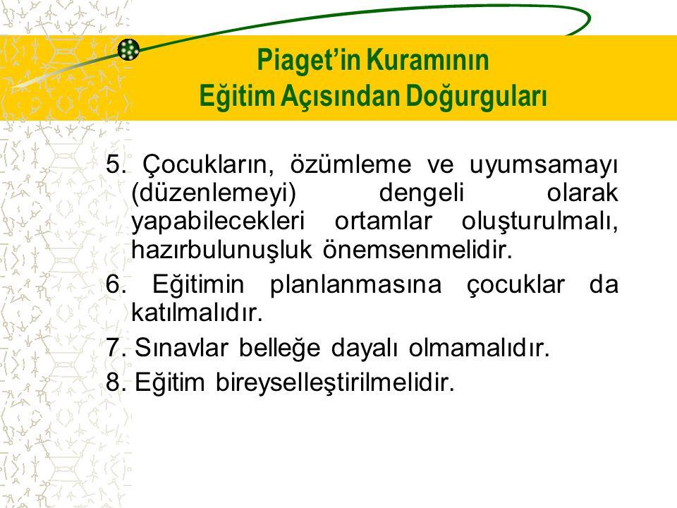 Piaget'in Kuramının Eğitim Açısından Doğurguları 5.