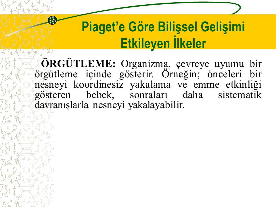 Piaget'e Göre Bilişsel Gelişimi Etkileyen İlkeler ÖRGÜTLEME: Organizma, çevreye uyumu bir örgütleme içinde gösterir.