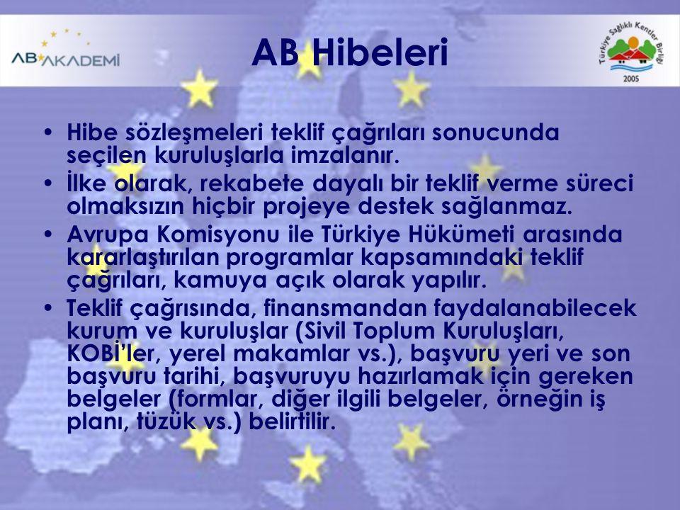 AB Hibeleri Hibe sözleşmeleri teklif çağrıları sonucunda seçilen kuruluşlarla imzalanır.