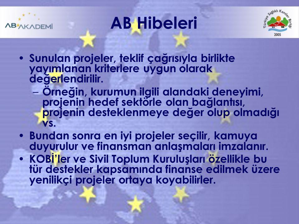 AB Hibeleri Sunulan projeler, teklif çağrısıyla birlikte yayımlanan kriterlere uygun olarak değerlendirilir.