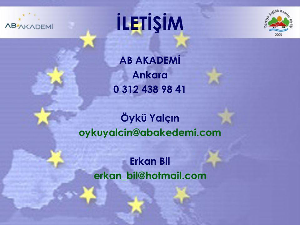 İLETİŞİM AB AKADEMİ Ankara 0 312 438 98 41 Öykü Yalçın oykuyalcin@abakedemi.com Erkan Bil erkan_bil@hotmail.com