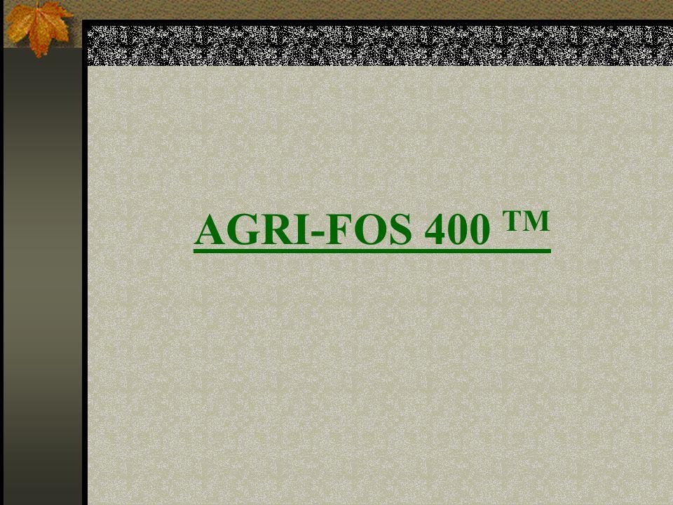  AGRI-FOS 400; Toksik olmayan sulu sistemik bir fungisittir ve aşağıdaki hastalıkların kontrolü için uygulanır: - Mildiyö - Phytophthora türleri Kontrolünde yardımcı olduğu hastalıklar; - Pythium - Rhizoctonia - Ağaç Kanseri - Zamklı Gövde