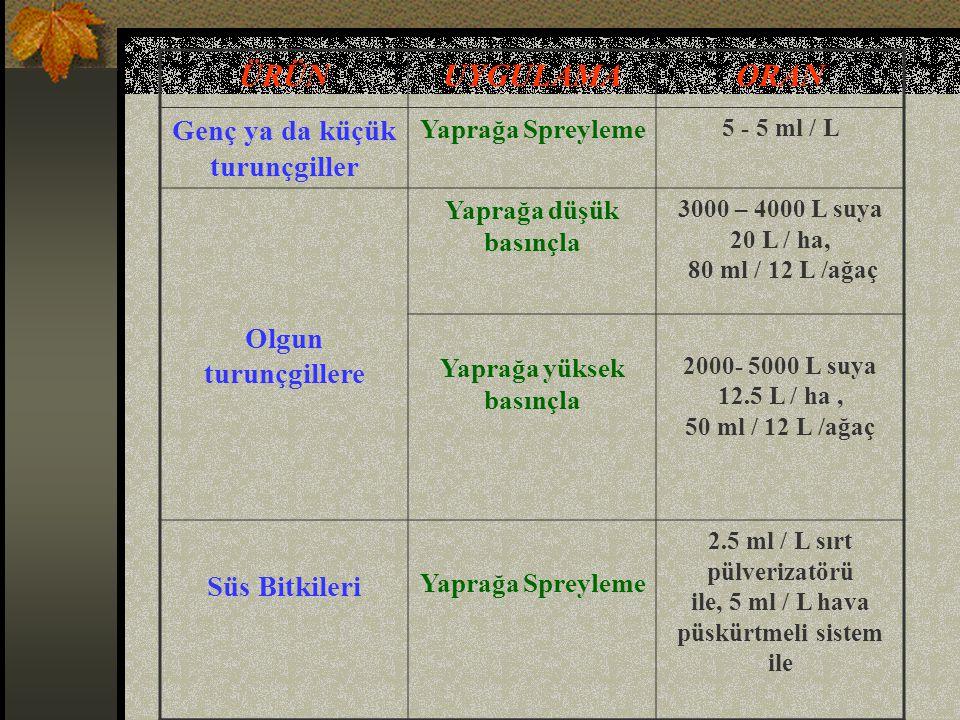 ÜRÜNUYGULAMAORAN Genç ya da küçük turunçgiller Yaprağa Spreyleme 5 - 5 ml / L Olgun turunçgillere Yaprağa düşük basınçla 3000 – 4000 L suya 20 L / ha, 80 ml / 12 L /ağaç Yaprağa yüksek basınçla 2000- 5000 L suya 12.5 L / ha, 50 ml / 12 L /ağaç Süs Bitkileri Yaprağa Spreyleme 2.5 ml / L sırt pülverizatörü ile, 5 ml / L hava püskürtmeli sistem ile