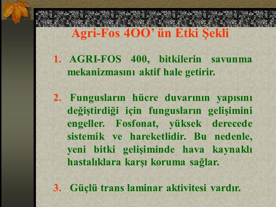 Agri-Fos 4OO' ün Etki Şekli 1.AGRI-FOS 400, bitkilerin savunma mekanizmasını aktif hale getirir.