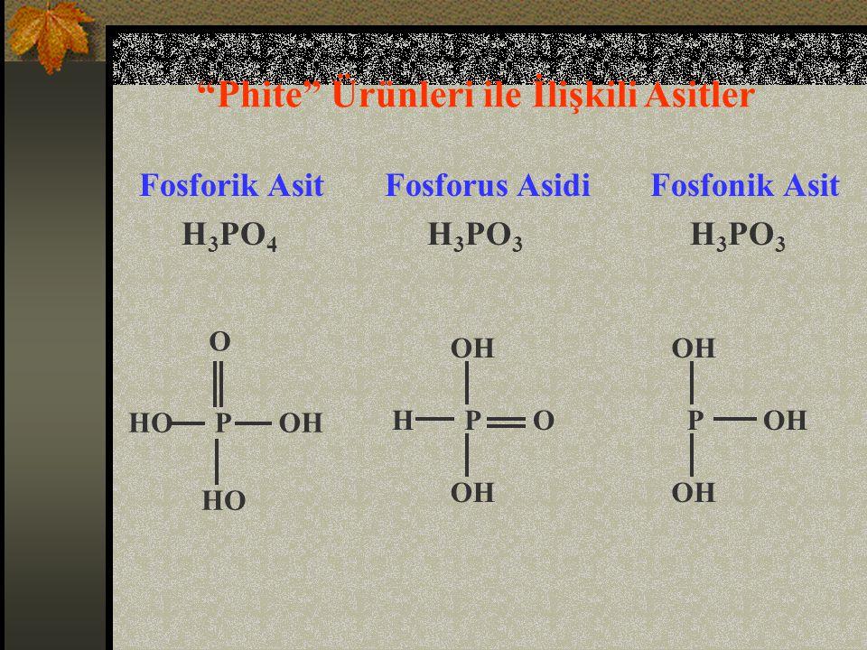 O PHO Fosforik Asit Fosforus Asidi Fosfonik Asit H 3 PO 4 H 3 PO 3 H 3 PO 3 OH OPH P Phite Ürünleri ile İlişkili Asitler