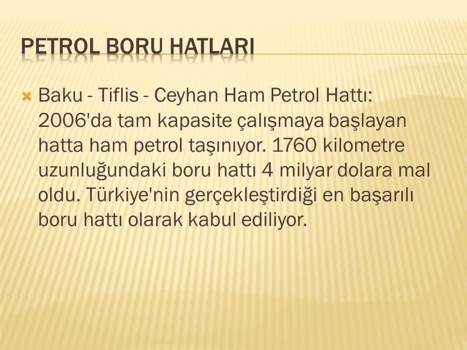  Baku - Tiflis - Ceyhan Ham Petrol Hattı: 2006'da tam kapasite çalışmaya başlayan hatta ham petrol taşınıyor. 1760 kilometre uzunluğundaki boru hattı