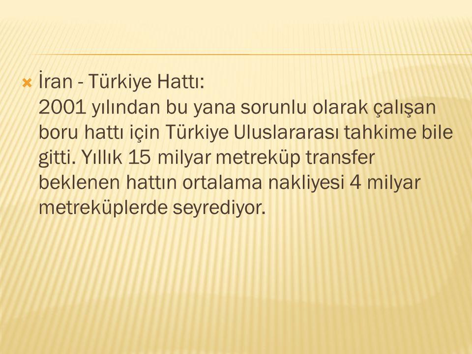  İran - Türkiye Hattı: 2001 yılından bu yana sorunlu olarak çalışan boru hattı için Türkiye Uluslararası tahkime bile gitti. Yıllık 15 milyar metrekü