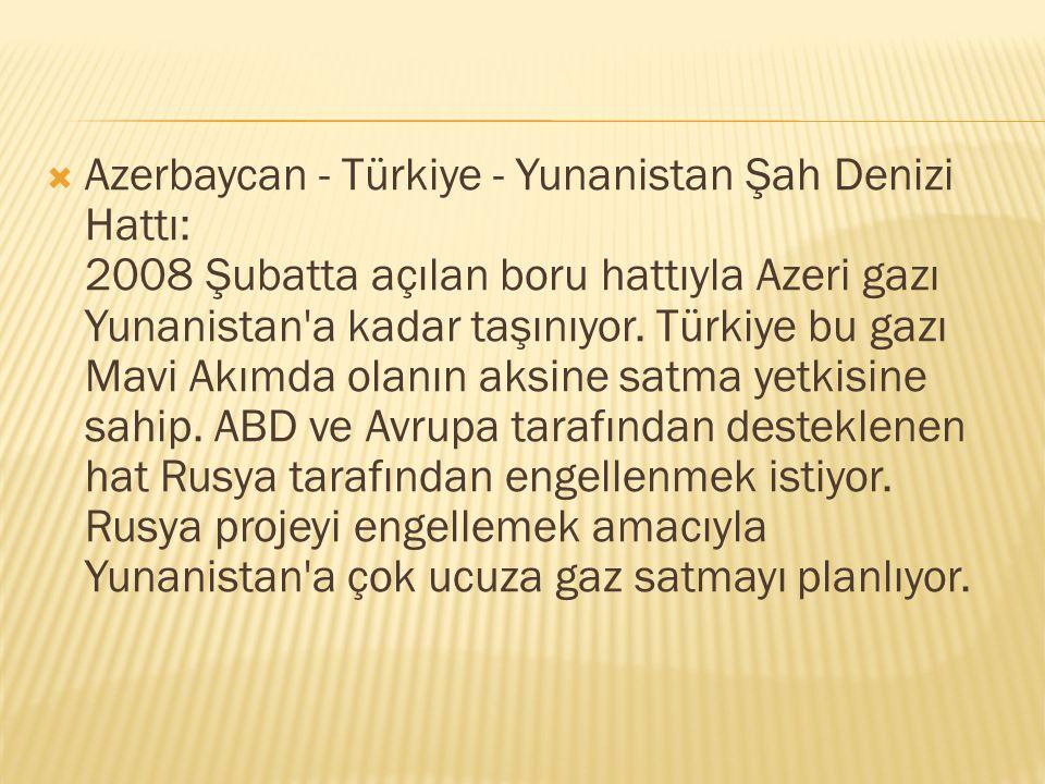  Azerbaycan - Türkiye - Yunanistan Şah Denizi Hattı: 2008 Şubatta açılan boru hattıyla Azeri gazı Yunanistan'a kadar taşınıyor. Türkiye bu gazı Mavi