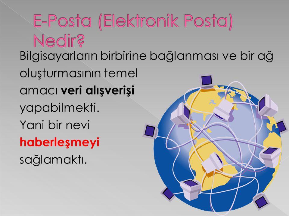 İşte E-posta yada diğer adıyla E-Mail bu haberleşme işlevini yerine getiren bilgisayardan bağımsız ve dünyanın en büyük ağını yani interneti kullanan bir sistemdir.