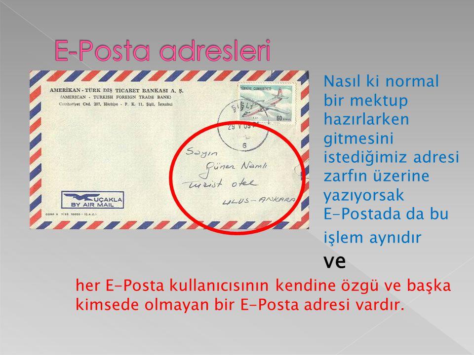  Nasıl ki evimize mektupların ulaşması için bir ev adresimiz varsa e-posta kutumuza ait de bir adresimiz var.