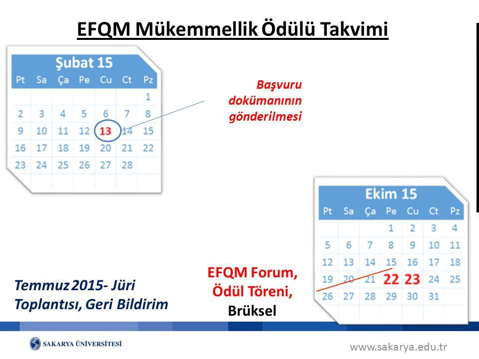 www.sakarya.edu.tr EFQM Mükemmellik Ödülü Takvimi Başvuru dokümanının gönderilmesi SAHA ZİYARETİ EFQM Forum, Ödül Töreni, Brüksel Temmuz 2015- Jüri To