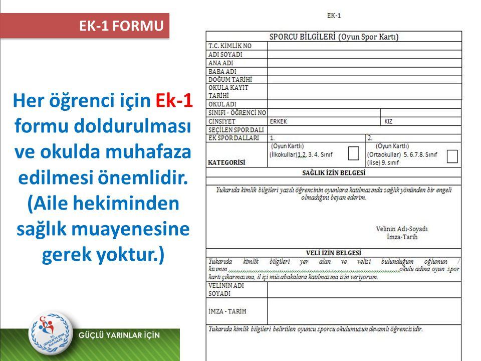 Her öğrenci için Ek-1 formu doldurulması ve okulda muhafaza edilmesi önemlidir. (Aile hekiminden sağlık muayenesine gerek yoktur.) EK-1 FORMU