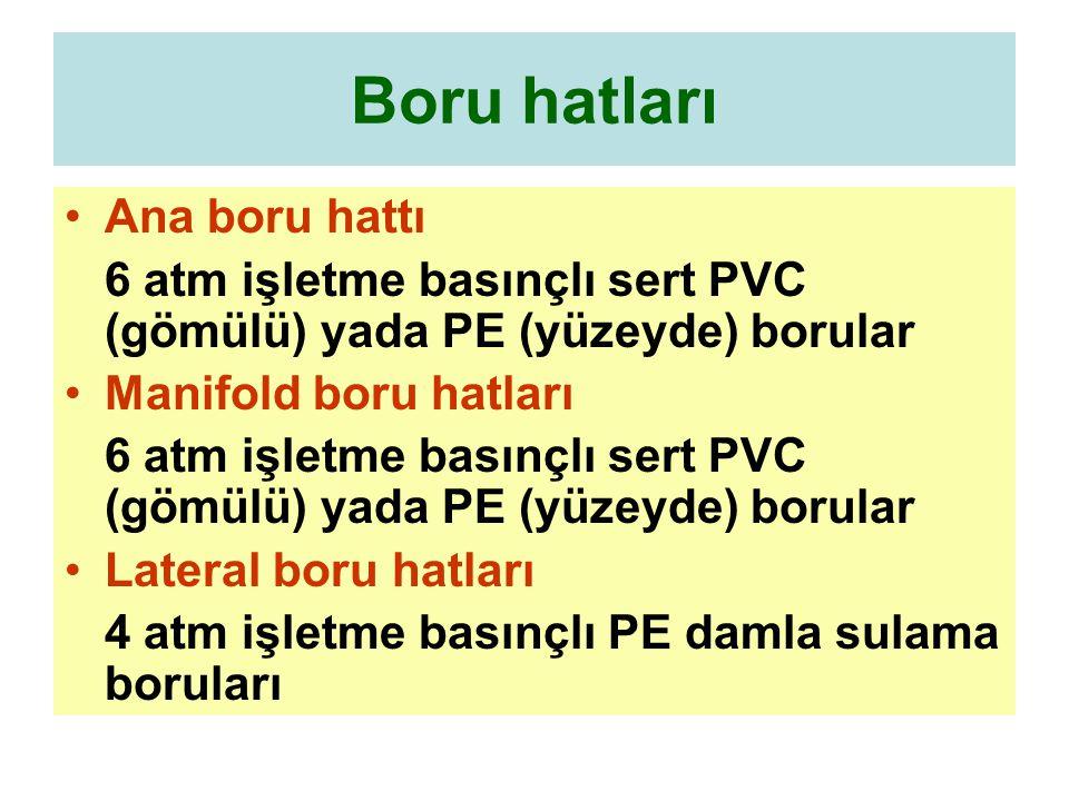 Boru hatları Ana boru hattı 6 atm işletme basınçlı sert PVC (gömülü) yada PE (yüzeyde) borular Manifold boru hatları 6 atm işletme basınçlı sert PVC (