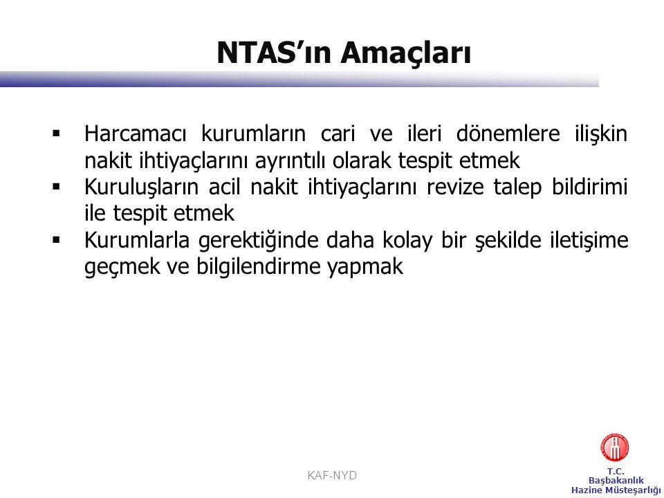 T.C. Başbakanlık Hazine Müsteşarlığı KAF-NYD NTAS'ın Amaçları  Harcamacı kurumların cari ve ileri dönemlere ilişkin nakit ihtiyaçlarını ayrıntılı ola
