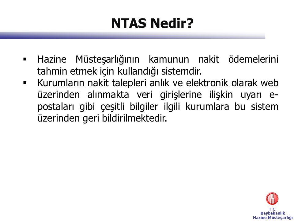 T.C. Başbakanlık Hazine Müsteşarlığı NTAS Nedir?  Hazine Müsteşarlığının kamunun nakit ödemelerini tahmin etmek için kullandığı sistemdir.  Kurumlar