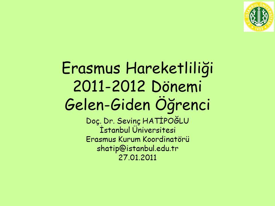 Erasmus Hareketliliği 2011-2012 Dönemi Gelen-Giden Öğrenci Doç.