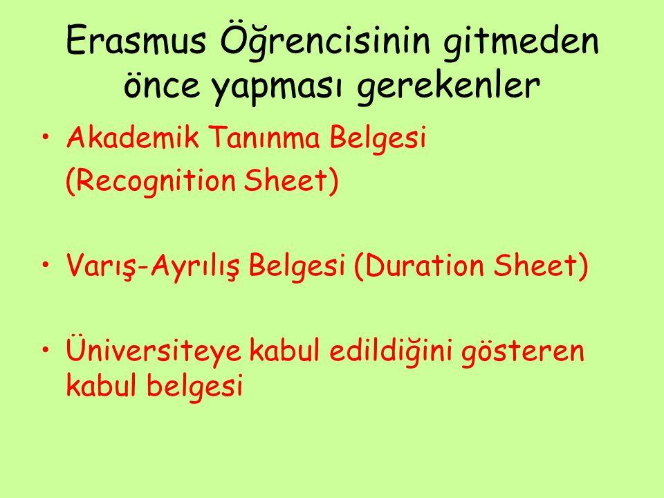 Erasmus Öğrencisinin gitmeden önce yapması gerekenler Akademik Tanınma Belgesi (Recognition Sheet) Varış-Ayrılış Belgesi (Duration Sheet) Üniversiteye kabul edildiğini gösteren kabul belgesi