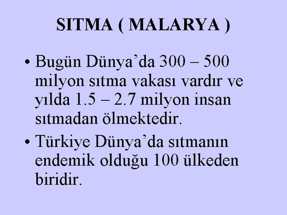 SITMA ( MALARYA ) Bugün Dünya'da 300 – 500 milyon sıtma vakası vardır ve yılda 1.5 – 2.7 milyon insan sıtmadan ölmektedir. Türkiye Dünya'da sıtmanın e