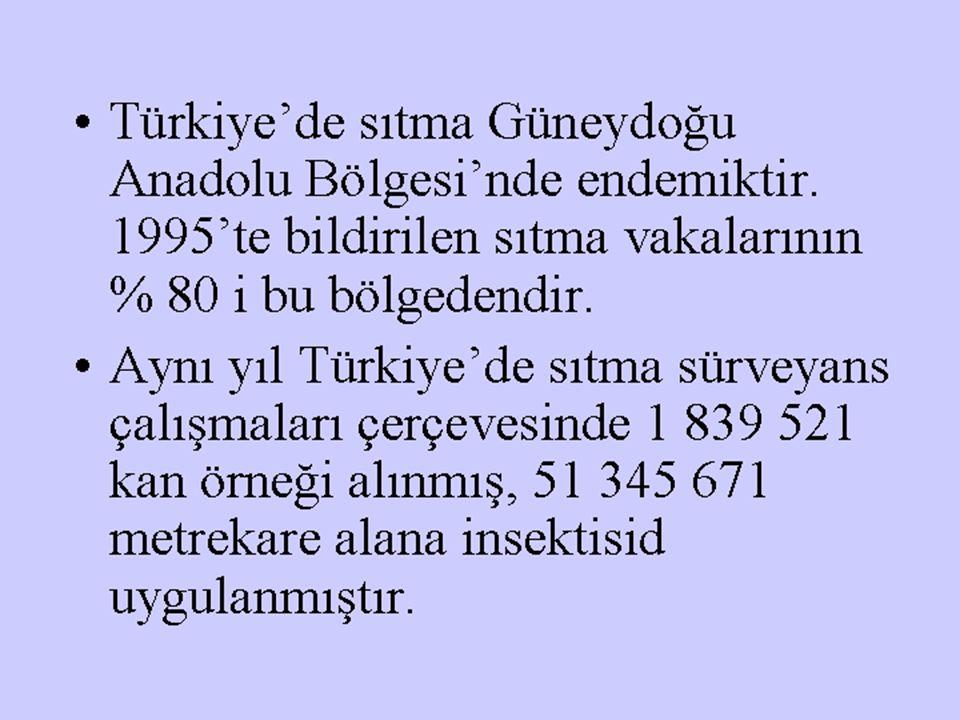 Türkiye'de sıtma Güneydoğu Anadolu Bölgesi'nde endemiktir. 1995'te bildirilen sıtma vakalarının % 80 i bu bölgedendir. Aynı yıl Türkiye'de sıtma sürve