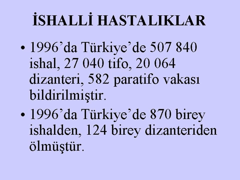 İSHALLİ HASTALIKLAR 1996'da Türkiye'de 507 840 ishal, 27 040 tifo, 20 064 dizanteri, 582 paratifo vakası bildirilmiştir. 1996'da Türkiye'de 870 birey