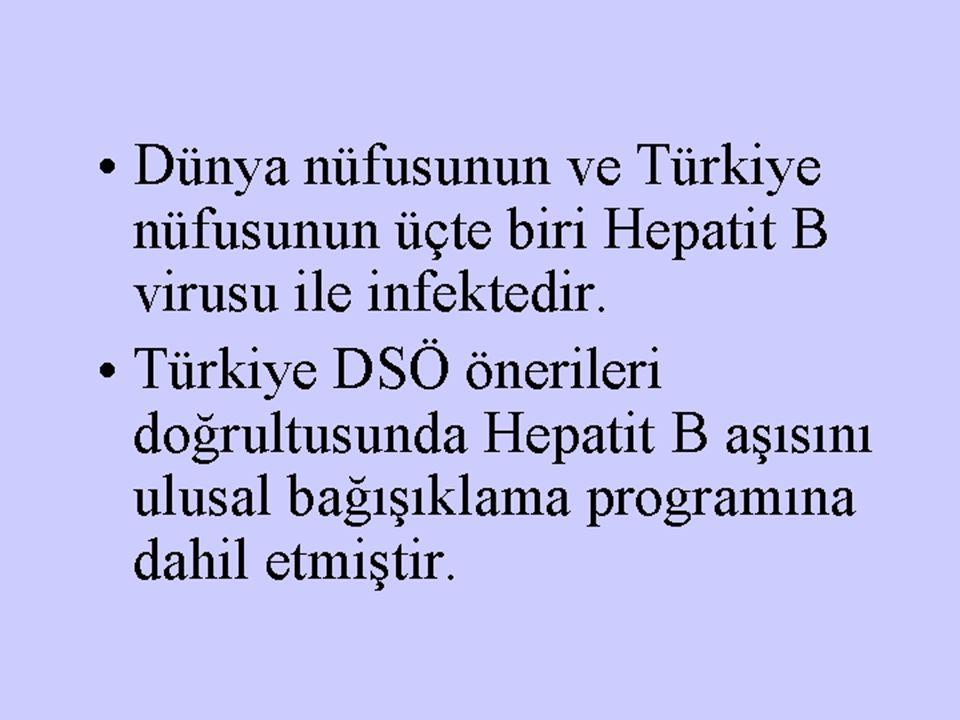 Dünya nüfusunun ve Türkiye nüfusunun üçte biri Hepatit B virusu ile infektedir. Türkiye DSÖ önerileri doğrultusunda Hepatit B aşısını ulusal bağışıkla