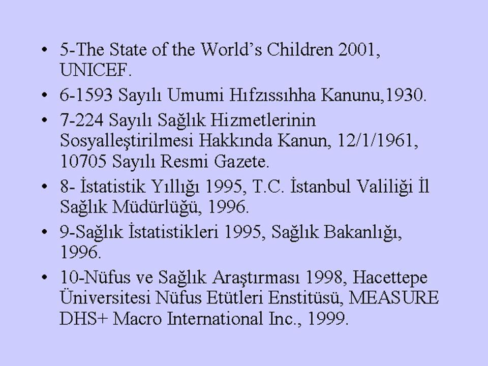 5-The State of the World's Children 2001, UNICEF. 6-1593 Sayılı Umumi Hıfzıssıhha Kanunu,1930. 7-224 Sayılı Sağlık Hizmetlerinin Sosyalleştirilmesi Ha
