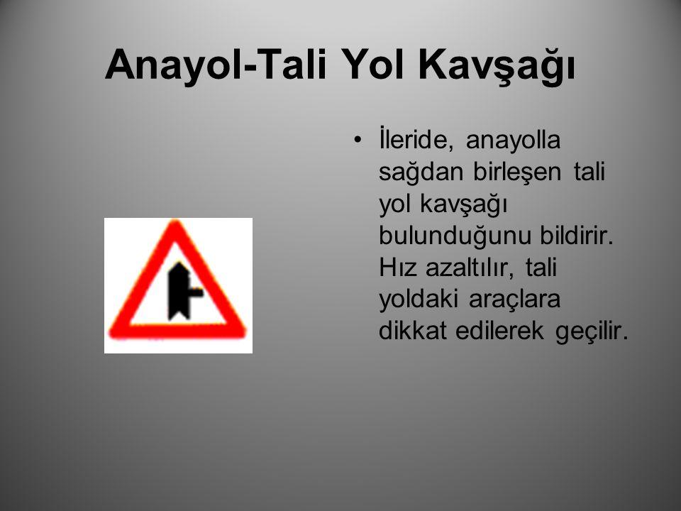 Anayol-Tali Yol Kavşağı İleride, anayolla soldan birleşen tali yol kavşağı bulunduğunu bildirir.