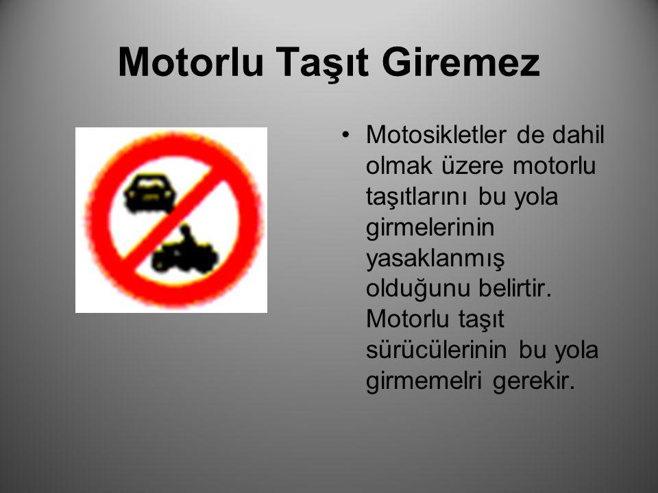 Motorlu Taşıt Giremez Motosikletler de dahil olmak üzere motorlu taşıtlarını bu yola girmelerinin yasaklanmış olduğunu belirtir. Motorlu taşıt sürücül