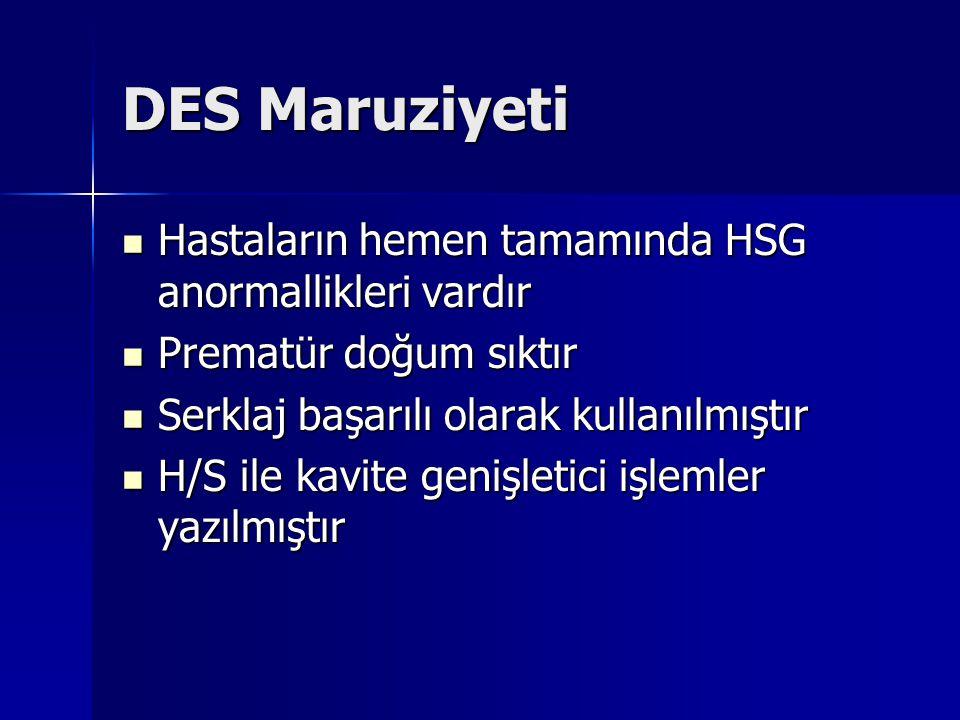 DES Maruziyeti Hastaların hemen tamamında HSG anormallikleri vardır Hastaların hemen tamamında HSG anormallikleri vardır Prematür doğum sıktır Prematür doğum sıktır Serklaj başarılı olarak kullanılmıştır Serklaj başarılı olarak kullanılmıştır H/S ile kavite genişletici işlemler yazılmıştır H/S ile kavite genişletici işlemler yazılmıştır