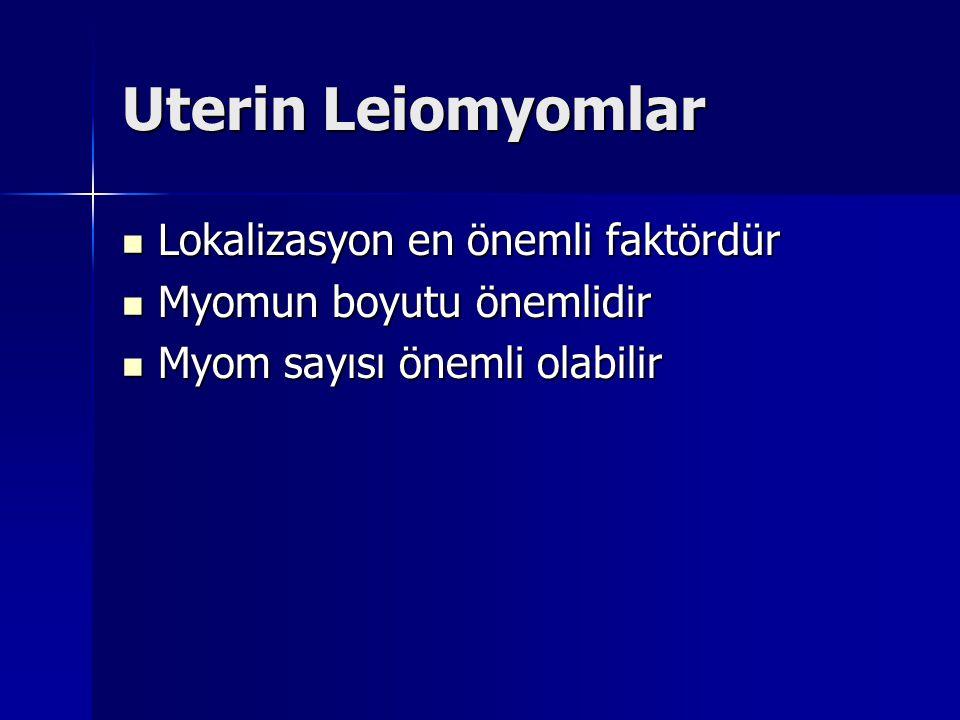 Uterin Leiomyomlar Lokalizasyon en önemli faktördür Lokalizasyon en önemli faktördür Myomun boyutu önemlidir Myomun boyutu önemlidir Myom sayısı önemli olabilir Myom sayısı önemli olabilir