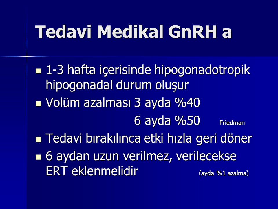 Tedavi Medikal GnRH a 1-3 hafta içerisinde hipogonadotropik hipogonadal durum oluşur 1-3 hafta içerisinde hipogonadotropik hipogonadal durum oluşur Vo