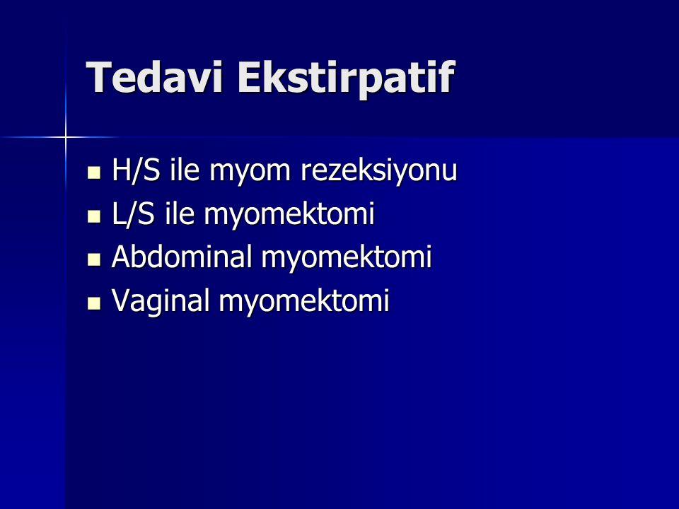 Tedavi Ekstirpatif H/S ile myom rezeksiyonu H/S ile myom rezeksiyonu L/S ile myomektomi L/S ile myomektomi Abdominal myomektomi Abdominal myomektomi V
