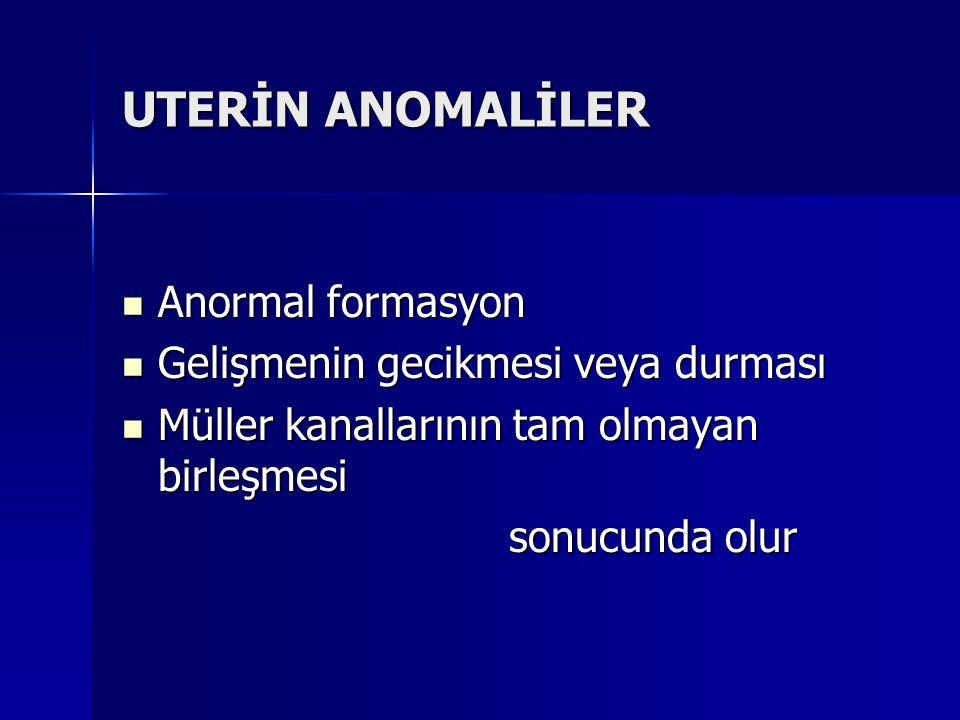 UTERİN ANOMALİLER Anormal formasyon Anormal formasyon Gelişmenin gecikmesi veya durması Gelişmenin gecikmesi veya durması Müller kanallarının tam olma