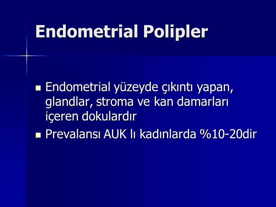 Endometrial Polipler Endometrial yüzeyde çıkıntı yapan, glandlar, stroma ve kan damarları içeren dokulardır Endometrial yüzeyde çıkıntı yapan, glandlar, stroma ve kan damarları içeren dokulardır Prevalansı AUK lı kadınlarda %10-20dir Prevalansı AUK lı kadınlarda %10-20dir