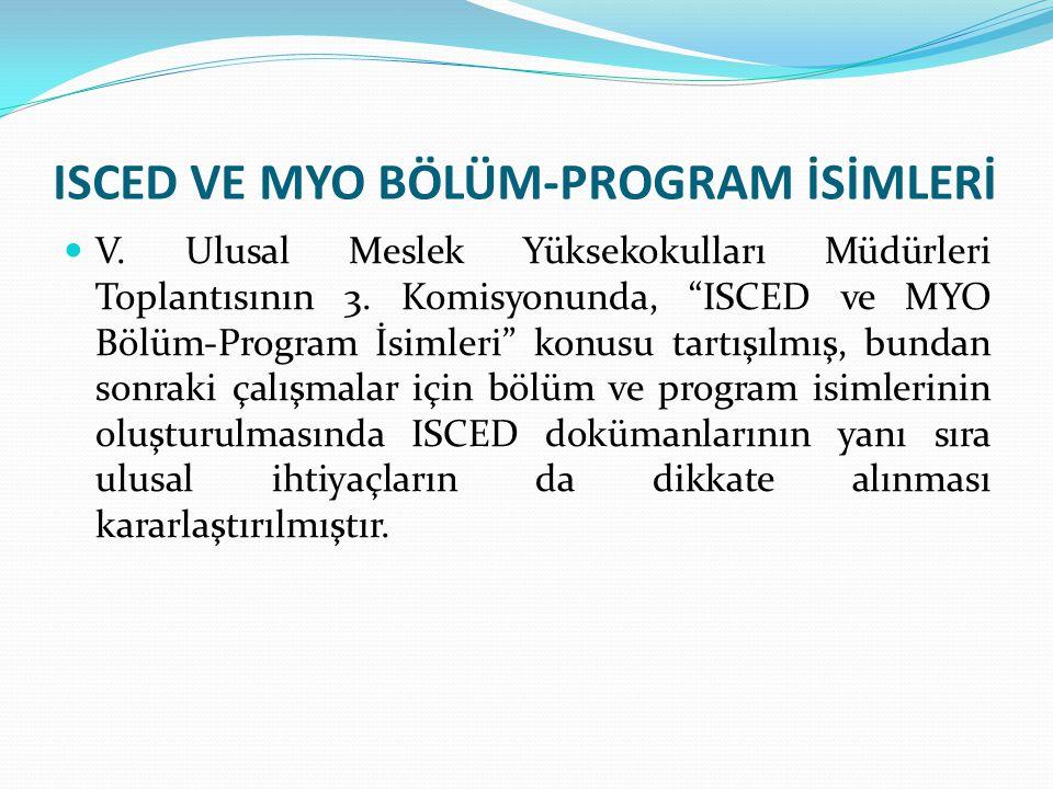 ISCED VE MYO BÖLÜM-PROGRAM İSİMLERİ V.Ulusal Meslek Yüksekokulları Müdürleri Toplantısının 3.