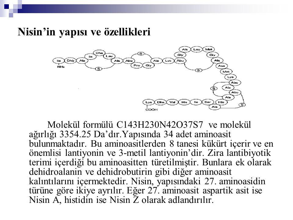 Nisin'in yapısı ve özellikleri Molekül formülü C143H230N42O37S7 ve molekül ağırlığı 3354.25 Da'dır.Yapısında 34 adet aminoasit bulunmaktadır.
