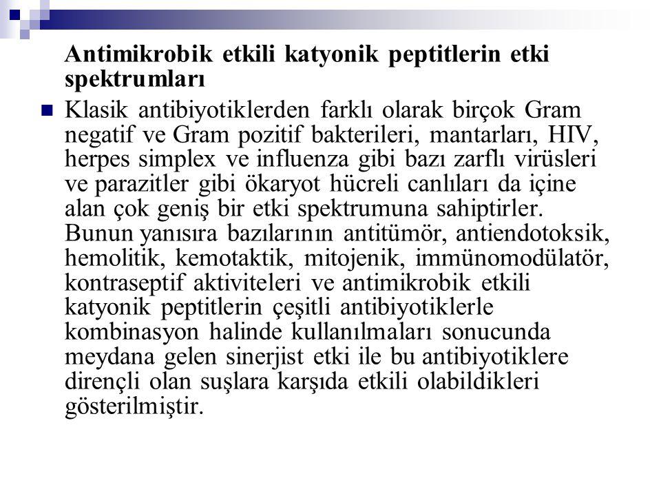 Antimikrobik etkili katyonik peptitlerin etki spektrumları Klasik antibiyotiklerden farklı olarak birçok Gram negatif ve Gram pozitif bakterileri, mantarları, HIV, herpes simplex ve influenza gibi bazı zarflı virüsleri ve parazitler gibi ökaryot hücreli canlıları da içine alan çok geniş bir etki spektrumuna sahiptirler.