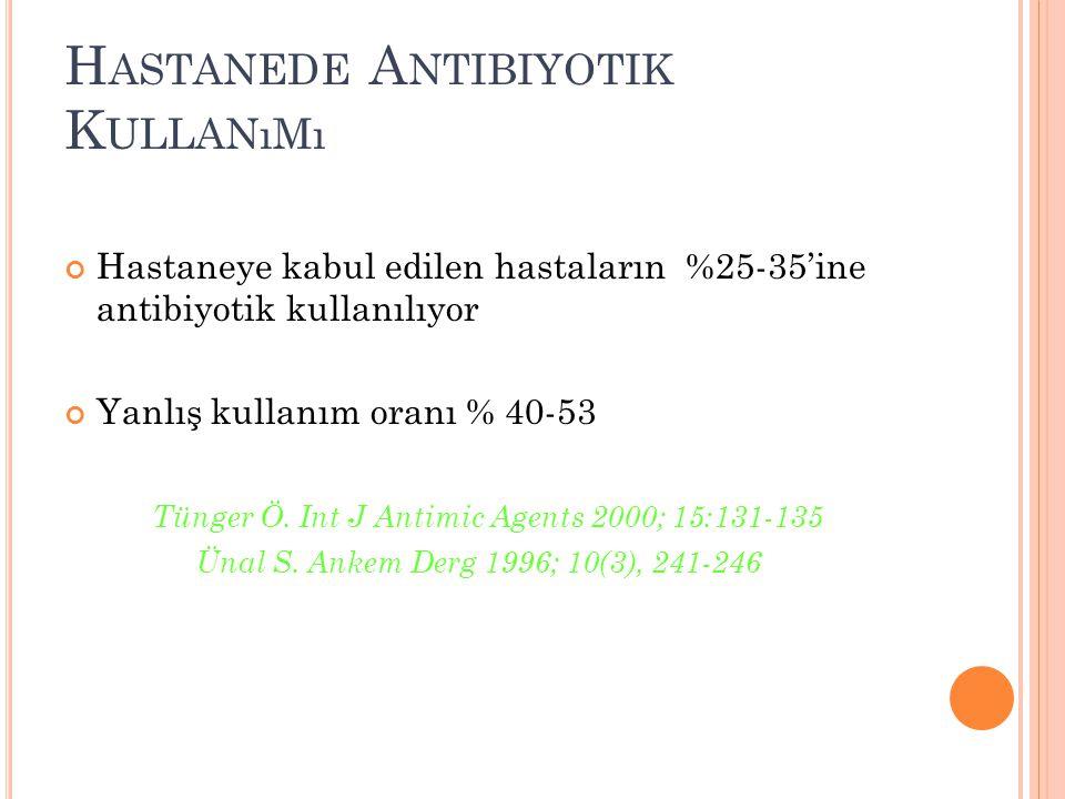 H ASTANEDE A NTIBIYOTIK K ULLANıMı Hastaneye kabul edilen hastaların %25-35'ine antibiyotik kullanılıyor Yanlış kullanım oranı % 40-53 Tünger Ö. Int J