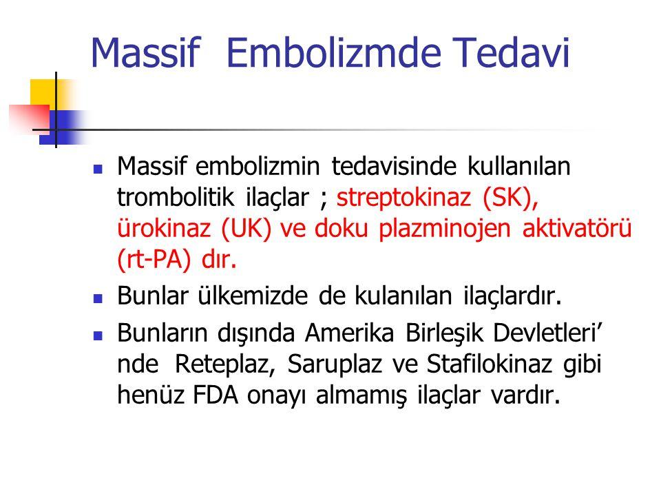 Massif Embolizmde Tedavi Massif embolizmin tedavisinde kullanılan trombolitik ilaçlar ; streptokinaz (SK), ürokinaz (UK) ve doku plazminojen aktivatörü (rt-PA) dır.