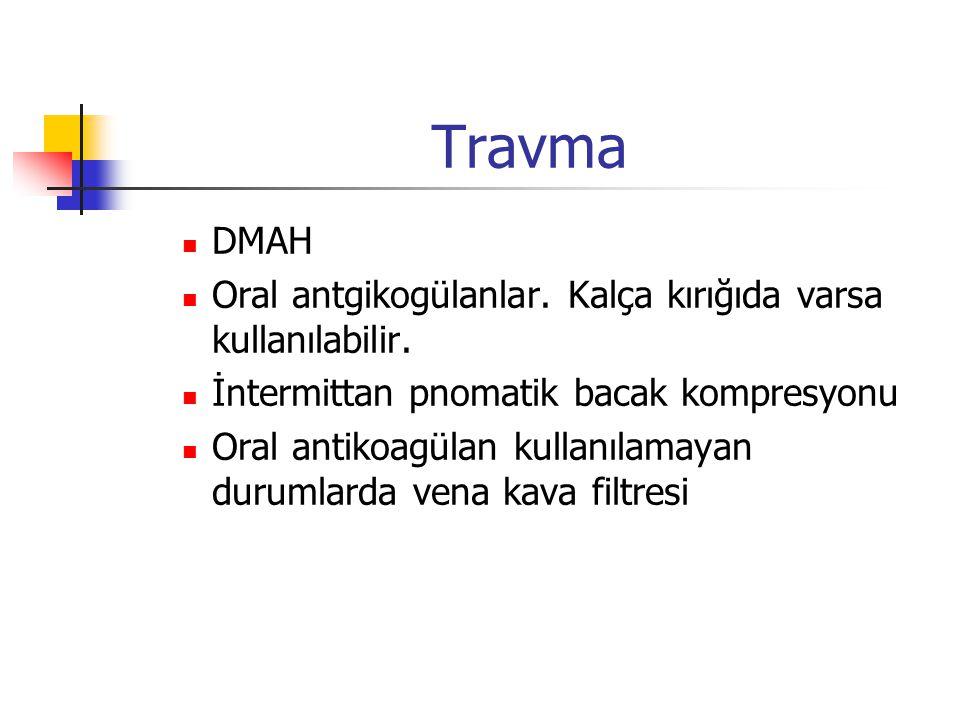 Travma DMAH Oral antgikogülanlar.Kalça kırığıda varsa kullanılabilir.