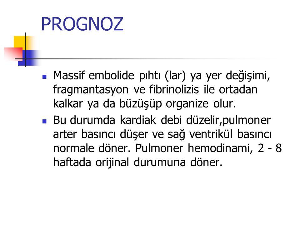 PROGNOZ Massif embolide pıhtı (lar) ya yer değişimi, fragmantasyon ve fibrinolizis ile ortadan kalkar ya da büzüşüp organize olur.