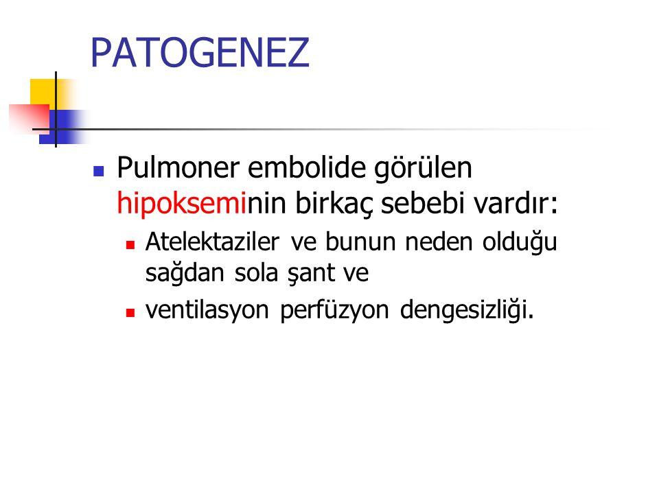 PATOGENEZ Pulmoner embolide görülen hipokseminin birkaç sebebi vardır: Atelektaziler ve bunun neden olduğu sağdan sola şant ve ventilasyon perfüzyon dengesizliği.