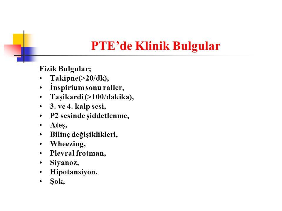 PTE'de Klinik Bulgular Fizik Bulgular; Takipne(>20/dk), İnspirium sonu raller, Taşikardi (>100/dakika), 3.