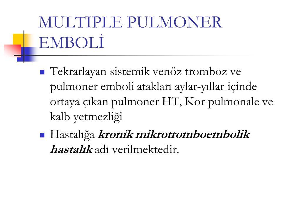 MULTIPLE PULMONER EMBOLİ Tekrarlayan sistemik venöz tromboz ve pulmoner emboli atakları aylar-yıllar içinde ortaya çıkan pulmoner HT, Kor pulmonale ve kalb yetmezliği Hastalığa kronik mikrotromboembolik hastalık adı verilmektedir.
