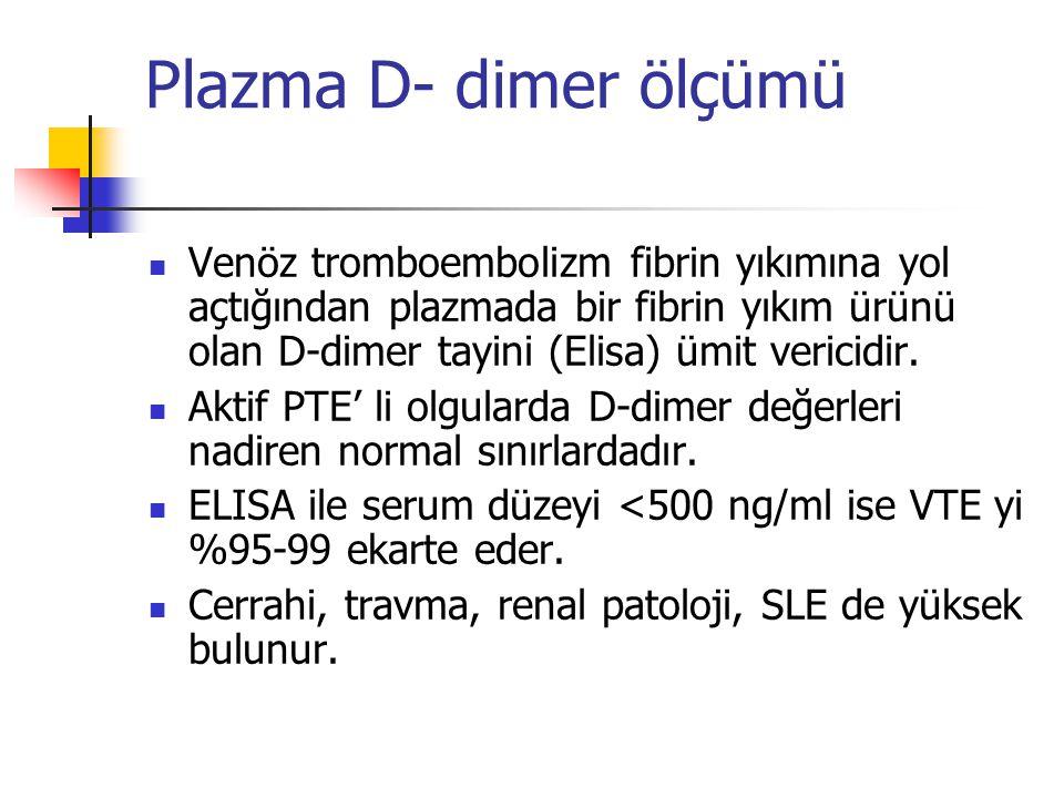 Plazma D- dimer ölçümü Venöz tromboembolizm fibrin yıkımına yol açtığından plazmada bir fibrin yıkım ürünü olan D-dimer tayini (Elisa) ümit vericidir.