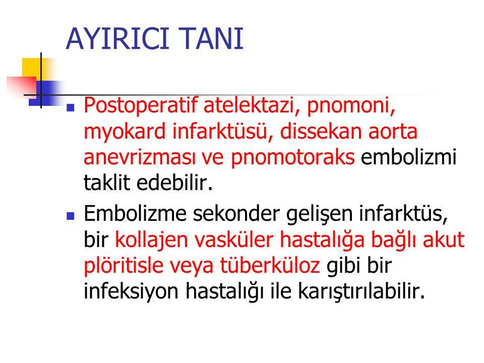 AYIRICI TANI Postoperatif atelektazi, pnomoni, myokard infarktüsü, dissekan aorta anevrizması ve pnomotoraks embolizmi taklit edebilir.